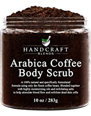 Handcraft Arabica Coffee Body Scrub and Facial Scrub - All Natural with Organic Ingredients - for Stretch Marks, Acne, Powerful Anti Cellulite Remover and Spider Veins 10 oz