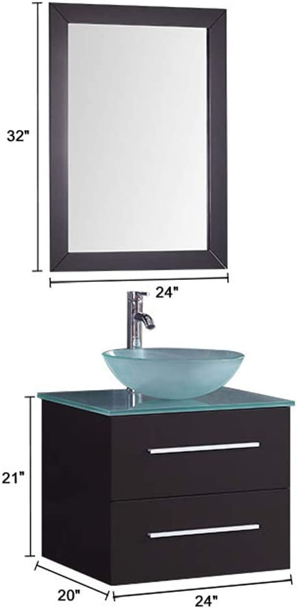 Modern Wall Mounted Vanity Set 24 in Plywood Vanity Set with Single Basin and Single Mirror T9190-SET