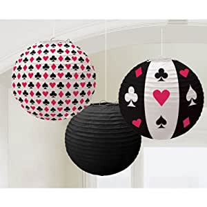 """Amscan Casino Printed Lanterns Hanging Party Decoration (3 Piece), Multi Color, 12 x 11"""""""