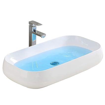 ACZZ Lavabo da appoggio ovale in ceramica Lavabo da bagno di ...