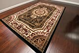 Feraghan/New City Transitional Black French Floral Wool Persian Area Rug, 9 x 12'4, Black