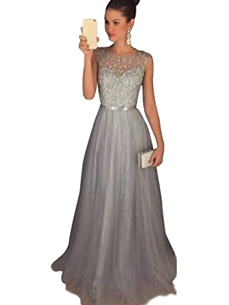 Abendkleid grau pailletten