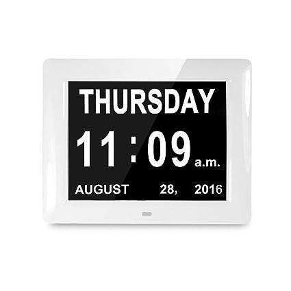 AMZTOLIFE Reloj Digital Calendario de Pérdida de Memoria y Día y Mes Extragrande no abreviado