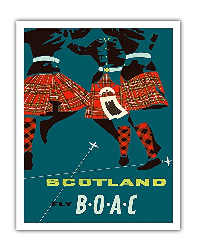 Scotland - Scottish Highland Dancers in Royal Stewart Tartan Kilts - Fly There by BOAC (British Overseas Airways Corporation) - Vintage Airline Travel Poster c.1959 - Fine Art Print - 11in x 14in (Print Scotland Vintage)