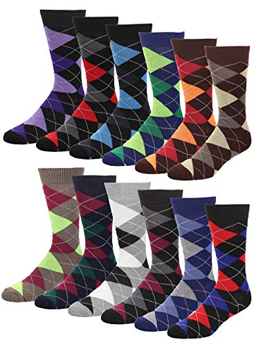 Falari Men Cotton Dress Socks, 12-pack Assorted Argyle,Socks Size 10-13 / Fits Shoe Size 6-10