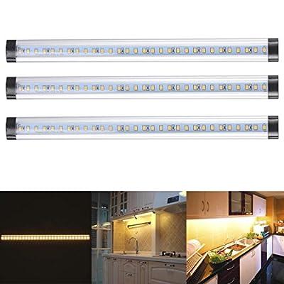 3pcs Kitchen Under Cabinet Shelf Counter LED Light Bar Lighting Kit Lamp White [ Warm White ]
