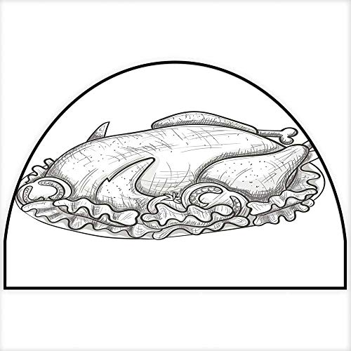 Hua Wu Chou Half Round Coir Door mathalf Round Dog mat W35 x H23 INCH Monochrome Sketch Turkey on Plate