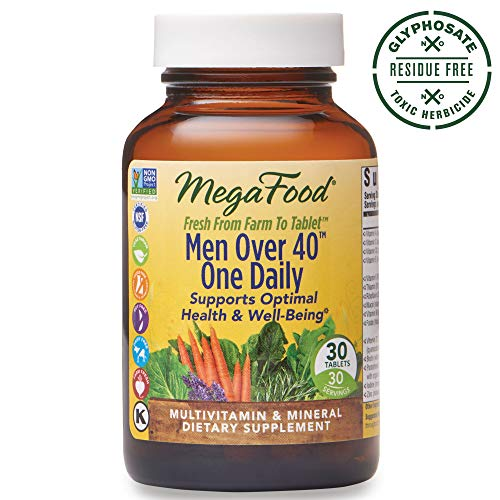 MegaFood, Men Over 40 One Daily, Daily Multivitamin and Mineral Dietary Supplement with Vitamins B, D and Zinc, Non-GMO, Vegetarian, 90 Tablets 90 Servings FFP