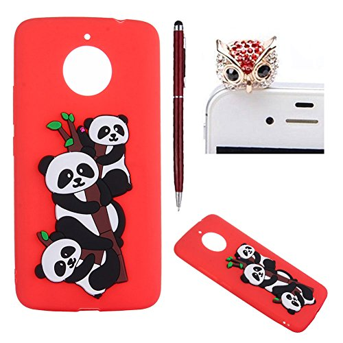 For Moto E4 Plus Case,For Moto E4 Plus Soft Silicone Case,SKYXD Lovely Tree Panda Pattern Sweet Candy Colour Ultra Thin Gel Rubber Shockproof Protective Skin Case Cover for Moto E4 Plus,Red