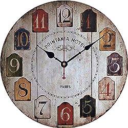 GFF 12 Inch Silent Vintage Design Wooden Round Wall Clock, Arabic Numerals,Vintage Rustic Shabby Chic Style,Wooden Round Home Decoration Wall Clock