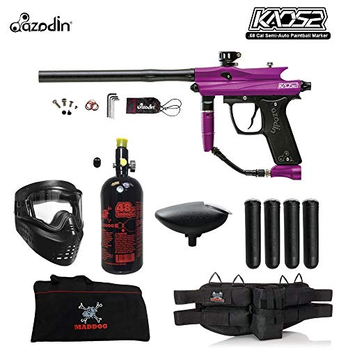 MAddog Azodin KAOS 2 Beginner HPA Paintball Gun Package B - Purple/Black