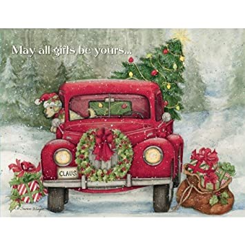 Lang Boxed Christmas Cards 2021 Lang Boxed Christmas Cards Santa S Truck Artwork By Susan Winget 18 Cards 19 Envelopes 5 X 7 Amazon In Office Products