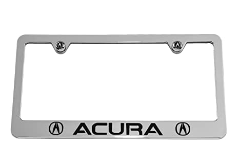 Amazoncom Acura License Plate Frame Chrome With Black Engraving - Acura license plate