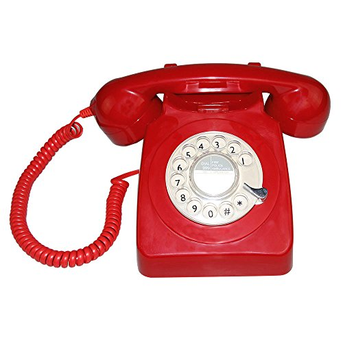 LNC Classic Style Rotary Dial Single Line Red Desk Telephone Set