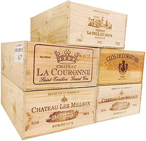 MIX Vineyard Crates One (1) Decorative French Wine Crate - Wooden Box for Wine Storage Wedding Decor DIY Projects Garden Planter Boxes NO Lid NO Storage Inserts (12BtlStd)