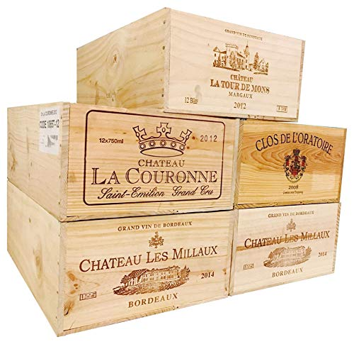 One (1) Decorative French Wine Crate - Wooden Box for Wine Storage Wedding Decor DIY Projects Garden Planter Boxes NO Lid NO Storage Inserts