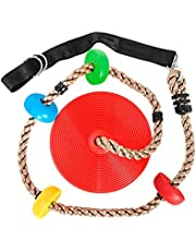 6.5ft Climbing Rope Tree Swing with Multicolor Platforms and Disc Swing Seat Set Outdoor Playground Accessories Playset Including Hanging Strap & Carabiner(Red)
