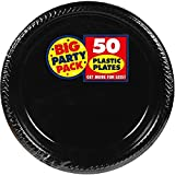 Amscan Big Party Pack 50 Count Plastic Dessert Plates, 7-Inch, Black