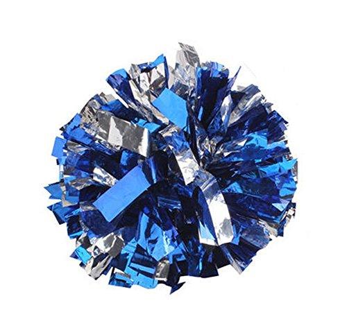 2 Of Metallic 100g more Densely Bushy PET Foil & Plastic Ring Pom Poms Cheerleading Poms BLUE+SILVER