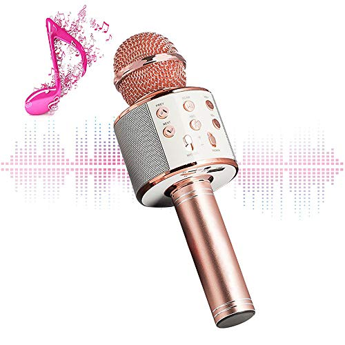 Karaoke Microphone Wireless With Bluetooth Speaker - Instagram 5000+Likes iPhone Android PC Smartphone Portable Handheld Microphone for Singing Recording Interviews or Kids Home KTV Party (Rose gold)