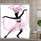 Anniutwo Latin Shower Curtains Fabric Extra Long Silhouette of a Woman Dancing Samba Salsa Latin Dances Spain and Mexico Culture Print Bathroom Accessories 72''x72'' Pink Black
