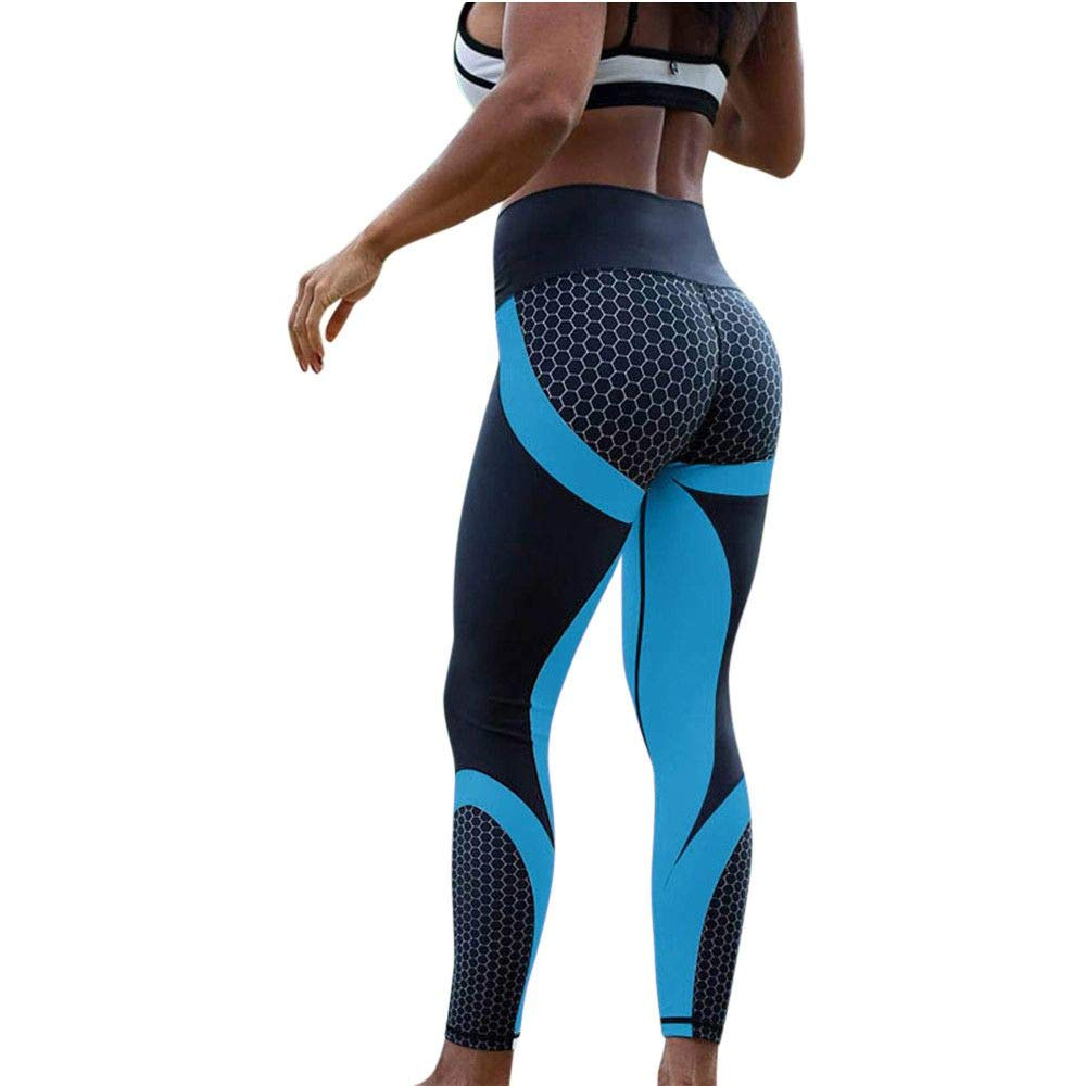 Women's High Waist Yoga Pants Butt Lifting Tummy Control Slimming Booty Leggings Workout Running Leggings Tights (Small, X1733 Blue)