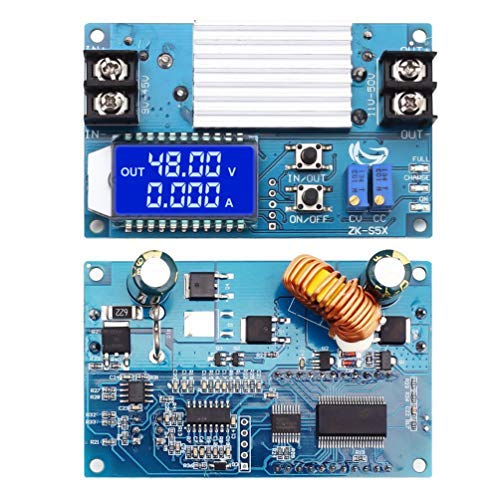 WHDTS 5A Buck Boost Converter LCD Display, DC-DC 10V-50V Step Up Power Supply Module Adjustable Boost Adapter CVCC Constant Coltage Constant Current Converter with Shell ()