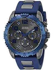 Guess Mens U0599G2 Silicone Sporty Multi-Function Analog Quartz Movement Blue Watch