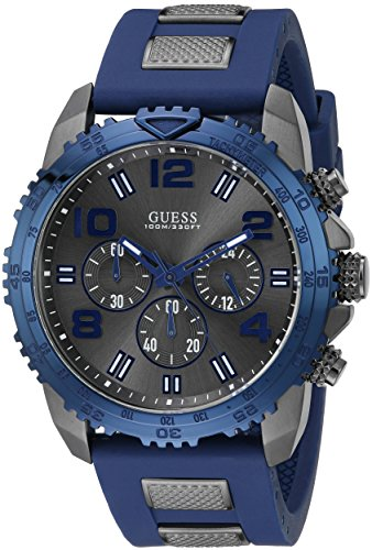Guess-Mens-U0599G2-Silicone-Sporty-Multi-Function-Analog-Quartz-Movement-Blue-Watch