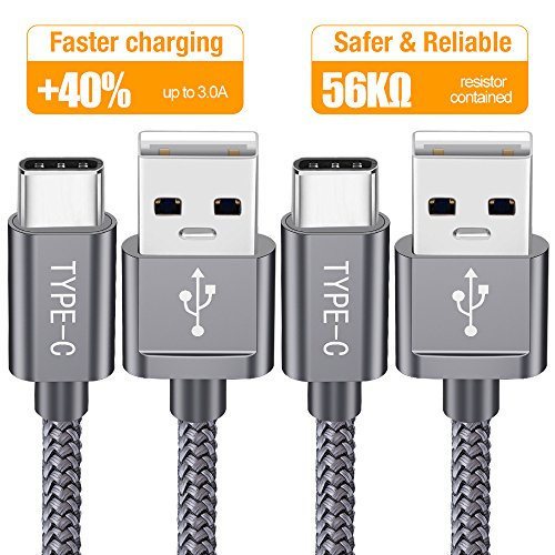 USB Type C Cable, Snowkids USB C Charger (2 PACK 6.6FT) Nylon Braided USB A to USB C Fast Charging Cord Compatible Samsung Galaxy S9 S8 Plus Note 9 8,LG V30 V20 G6 G5,Pixel XL,Nintendo Switch (Grey)