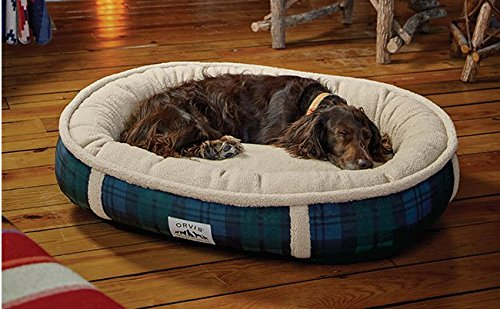 Orvis Comfortfill Wraparound Dog Bed with Fleece/Large Dogs 60-90 Lbs, Black Watch,