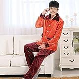 LJ&L Couple Pajamas Thicker Flannel Long Sleeve Pants Breathable Home Clothing Fashion Bathrobe Pajamas Set,Men,L