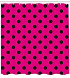 Hot Pink Shower Curtain Liner Ambesonne Hot Pink Shower Curtain, Pop Art Inspired Design Retro Pattern of Black Polka Dots Classical Spotted, Fabric Bathroom Decor Set with Hooks, 70 Inches, Hot Pink Black