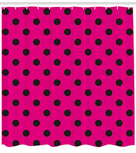 Ambesonne Hot Pink Shower Curtain, Pop Art Inspired Design Retro Pattern of Black Polka Dots Classical Spotted, Fabric Bathroom Decor Set with Hooks, 70 Inches, Hot Pink Black