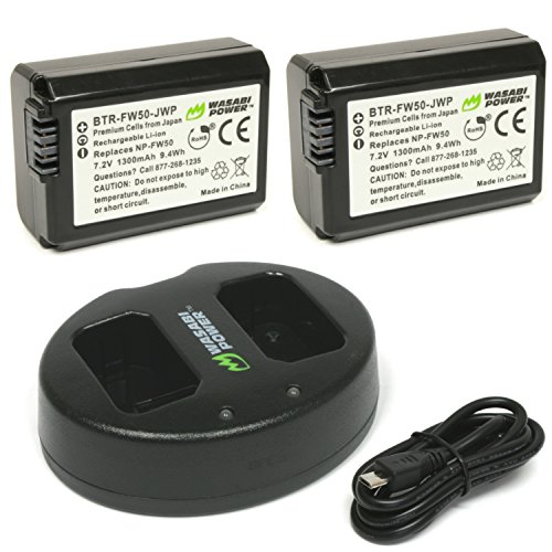 Wasabi Power Battery (2-Pack) and Dual Charger for Sony NP-FW50 (Compatible with Alpha a7, a7 II, a7R, a7R II, a7S, a7S II, a5000, a5100, a6000, a6300, a6500, NEX-5T, Cyber-shot DSC-RX10 III and more)