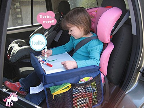 Kids Play Travel Tray Snack & Play Travel Tray Waterproof Adjustable Snack Car Seat Table Drawing Board With Pockets foldable Safety Baby Car Seat Table for Play, Snacks, Games, Drawing (Blue) (Toddler Car Seat Tray compare prices)