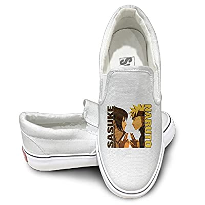PTCY Comic Sasuke Vs Naruto Fashion Unisex Flat Canvas Shoes Sneaker White