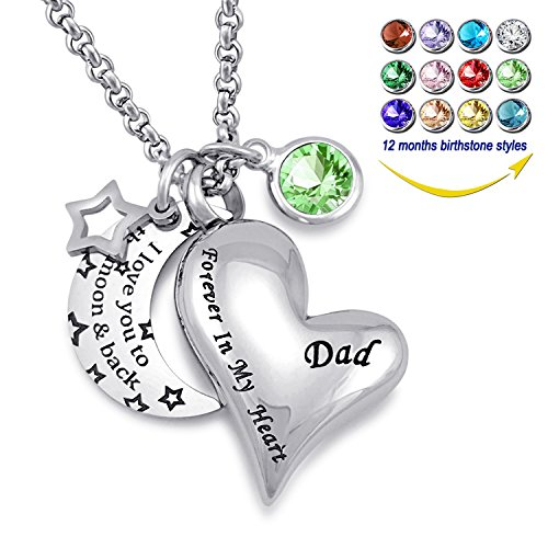 YOUFENG Urn Necklaces for Ashes I Love You to The Moon and Back for Dad Cremation Urn Locket Birthstone Jewelry (August urn Necklace)