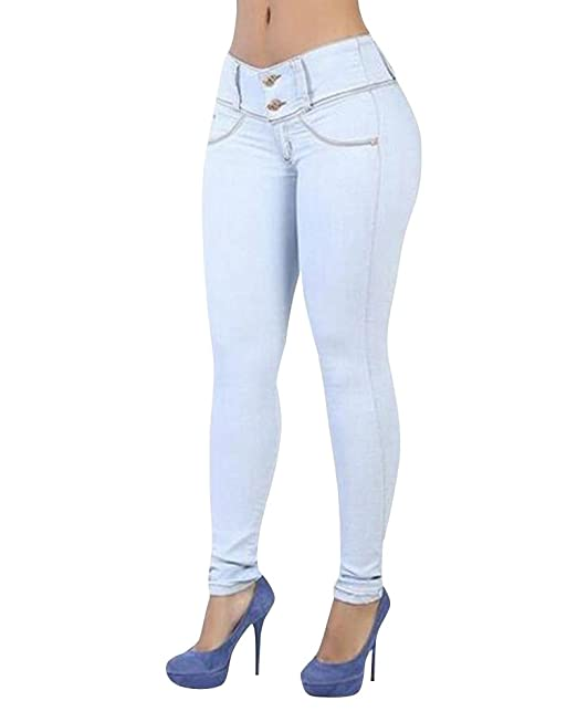 ZhuiKun Donna Vita Alta Leggings Elastico Skinny Jeans Pantaloni in Denim  Pantaloni  Amazon.it  Abbigliamento 59039d7433a
