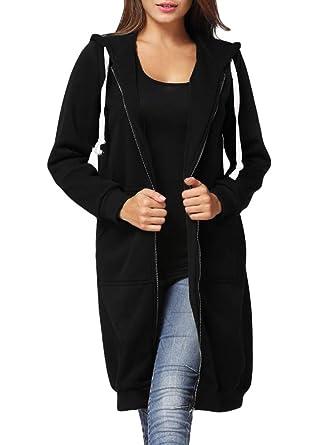 057991fd56005 Romacci Women s Casual Zip up Hoodies Pockets Tunic Sweatshirt Long Hoodie  Outerwear Jacket Dress Plus Size