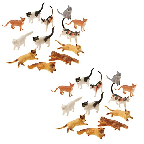 (Plastic Cat Figures 24 Count - 2 Assorted Styles - 2 Packs of 12 Each)