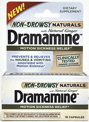 Dramamine Non-Drowsy Naturals with Natural Ginger, 18 Capsules by Dramamine