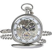 Charles-Hubert, Paris 3972-W Premium Collection Analog Display Mechanical Hand Wind Pocket Watch