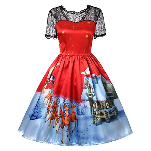 iZHH Christmas Party Dress Women Short Sleeve Lace Patchwork Printing Vintage Gown -