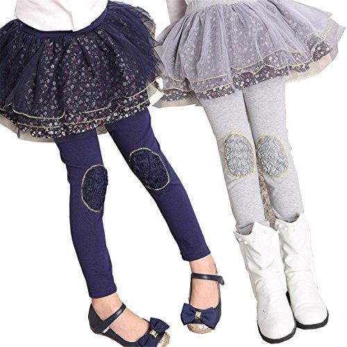 Seraialda Kids Girls 2 Pieces Lace Ruffle Leggings Gauze Culottes Tutu Skirt Leggings Pants 6-7 (Teens In Skirt)