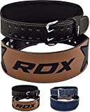 """RDX Weight Lifting Belt Cow Hide Leather Double Prong 4"""" Back Support Training"""