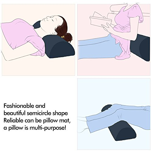 Memory Foam Bolster Pillows for Sleeping, Neck, Sciatica, Pregnancy, Legs, Knees Pain Relief Low Back Support for Office Chairs and Car Seats Semi Roll Pillow with Adjustable strap and Washable Cover by Qutool (Image #3)