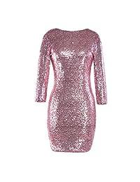 Emerayo Women's Sparkle Glitzy Sequin Backless Long Sleeve Round Collar Bodycon Dress Party Club Pencil Skirt