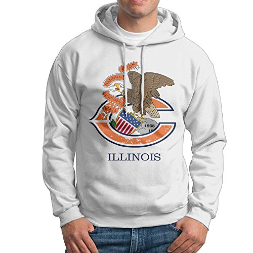 TQUSIJ Men's Long-Sleeved Sweater Illinois Football Team Bear Flag Bow Fashion Personality Long-Sleeved Sweater