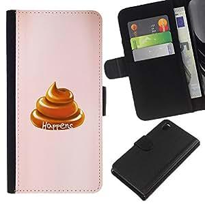 Sony Xperia Z3 D6603 / D6633 / D6643 / D6653 / D6616 Modelo colorido cuero carpeta tirón caso cubierta piel Holster Funda protección - Shit Happens Turd Golden Brown Peach